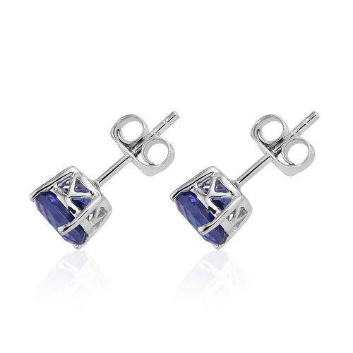 14K W Gold Tanzanite (Rnd) Stud Earrings (with Push Back) 2.000 Ct.