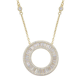 ELANZA AAA Simulated White Diamond (Bgt) Circle of Life Necklace (Size 18 with 2 inch Extender) in 14K Gold Overlay Sterling Silver, Silver wt 7.20 Gms. Number of Simulated Diamonds 154