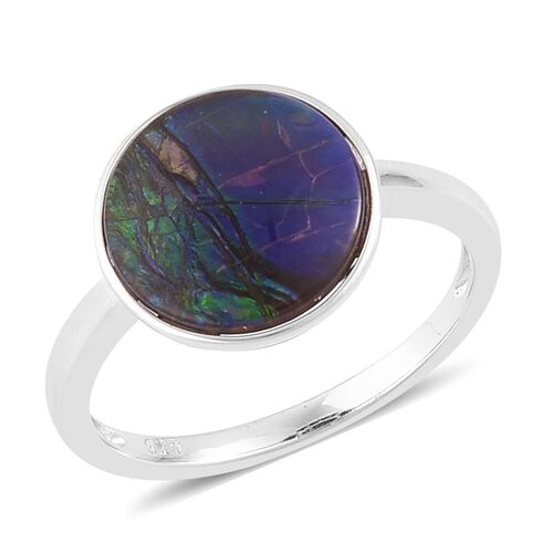 AA Canadian Ammolite (Rnd) Solitaire Ring in Platinum Overlay Sterling Silver 3.500 Ct.