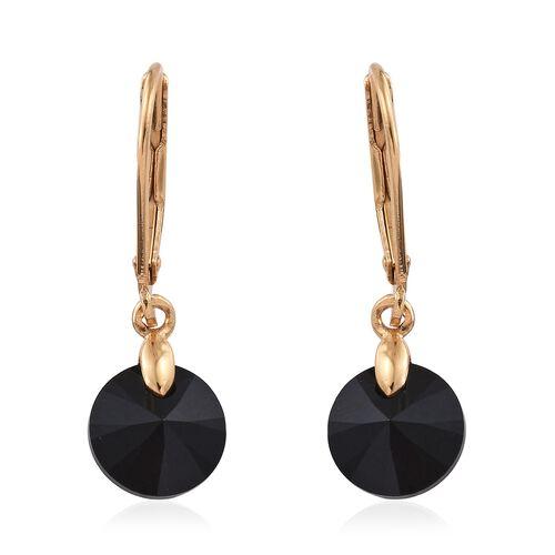 J Francis Crystal from Swarovski - Jet Colour Crystal (Rnd) Lever Back Earrings in 14K Gold Overlay Sterling Silver