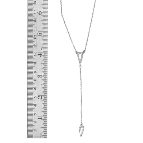 Diamond (Rnd) Necklace (Size 18) in Platinum Overlay Sterling Silver 0.100 Ct.