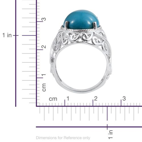 Arizona Sleeping Beauty Turquoise (Ovl) Solitaire Ring in Platinum Overlay Sterling Silver 6.511 Ct.