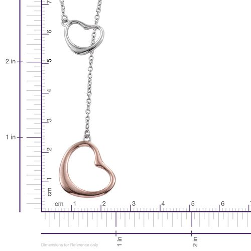 Platinum and Rose Gold Overlay Sterling Silver Heart Pendant With Chain (Size 18), Silver wt 5.77 Gms.