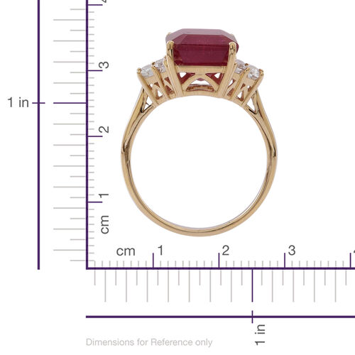 9K Y Gold African Ruby (Oct 10.00 Ct), White Topaz Ring 10.500 Ct.