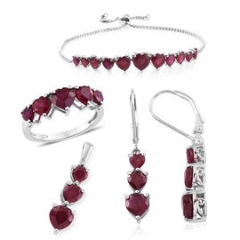 African Ruby (Hrt) Ring, Pendant, Bracelet (Size 6.5 - 9) and Lever Back Earrings in Platinum Overlay Sterling Silver 17.000 Ct. Silver wt 12.07 Gms.