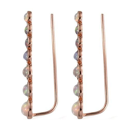 AA Ethiopian Welo Opal (Rnd) Climber Earrings in Rose Gold Overlay Sterling Silver 2.000 Ct.