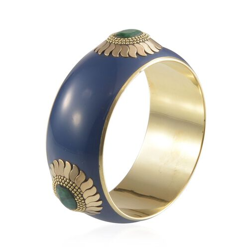 Jewels of India Blue and Emerald Bangle (Size 65 MM - Green)