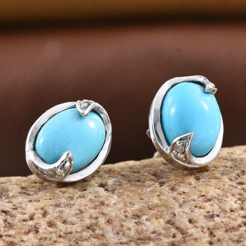 Arizona Sleeping Beauty Turquoise (Ovl), Diamond Stud Earrings in Platinum Overlay Sterling Silver 2.520 Ct.