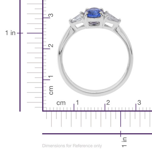ILIANA 18K W Gold AAA Ceylon Sapphire (Ovl 1.00 Ct), Diamond Ring 1.330 Ct.