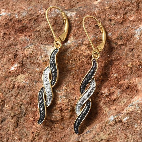 Black Diamond and White Diamond Lever Back Earrings in Rhodium and Gold Plated Silver