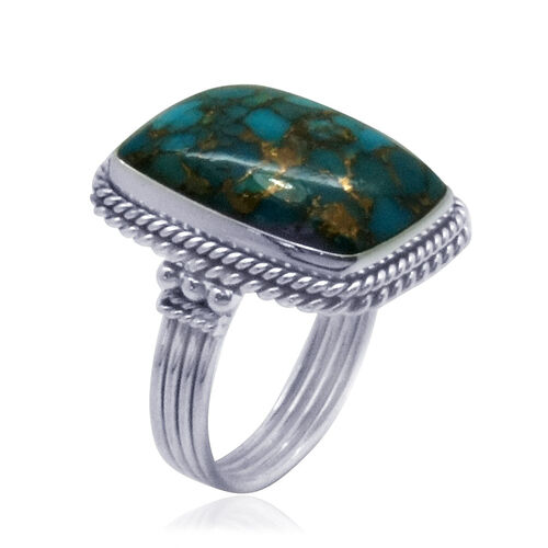 Royal Bali Collection Mohave Blue Turquoise (Cush) Solitaire Ring in Sterling Silver 11.320 Ct.