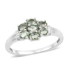 Songea Green Sapphire (Ovl) 7 Stone Floral Ring in Platinum Overlay Sterling Silver 1.750 Ct.