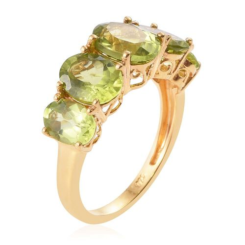Hebei Peridot (Ovl 1.80 Ct) 5 Stone Ring in 14K Gold Overlay Sterling Silver 5.750 Ct.