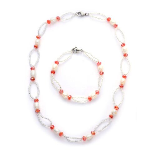 Fresh Water White Pearl, Red and White Glass Necklace (Size 18) and Bracelet (Size 7.5) in Stainless Steel