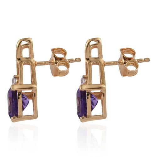 Amethyst (Trl), Simulated Diamond Earrings (with Push Back) in 14K Gold Overlay Sterling Silver 2.000 Ct.