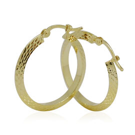 Close Out Deal- 9K Yellow Gold Diamond Cut Hoop Earrings (with Clasp)