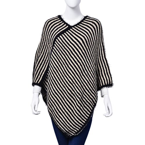 Black and White Colour Stripe Pattern Poncho (Free Size)