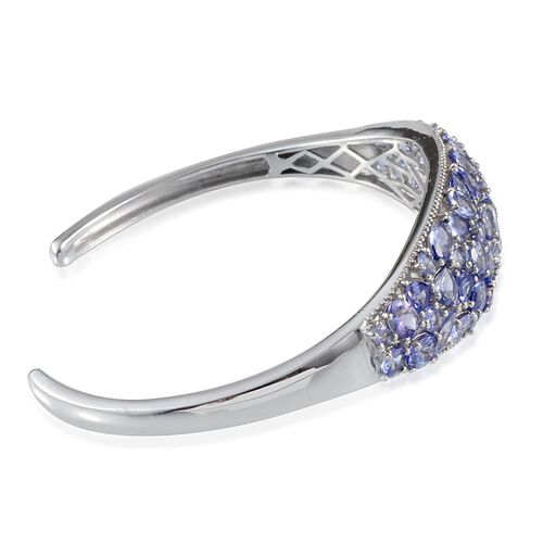 AA Tanzanite Cuff Bangle in Platinum Overlay Sterling Silver (Size 7.5) 11.500 Ct.