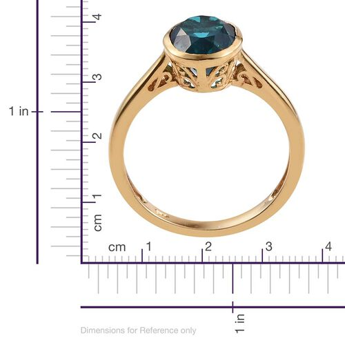 Capri Blue Quartz (Ovl) Solitaire Ring in 14K Gold Overlay Sterling Silver 3.000 Ct.