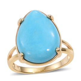 Rare Size Arizona Sleeping Beauty Turquoise (Pear) Ring in 14K Gold Overlay Sterling Silver 10.500 Ct.