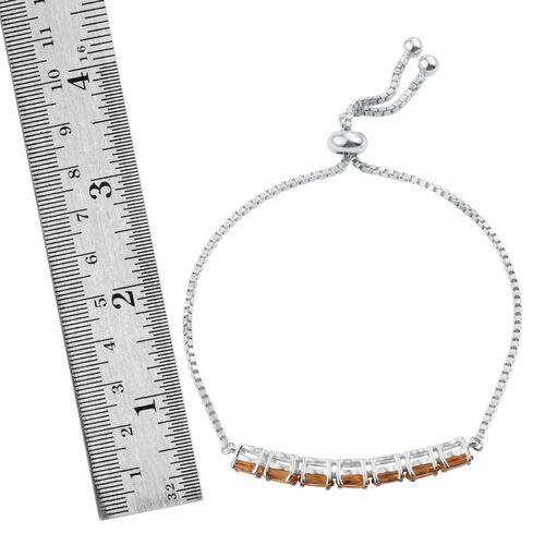 Citrine (Ovl) Adjustable Bracelet (Size 6 to 9) in ION Plated Platinum Bond 3.000 Ct.