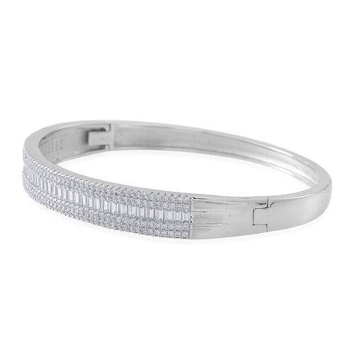 Limited Available ELANZA AAA Simulated White Diamond (Bgt) Bangle (Size 6.75) in Rhodium Plated Sterling Silver. Silver Wt 20 grams