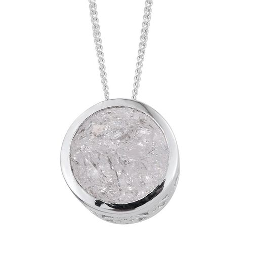 Diamond Crackled Quartz (Rnd) Solitaire Pendant With Chain in Platinum Overlay Sterling Silver 5.250 Ct.