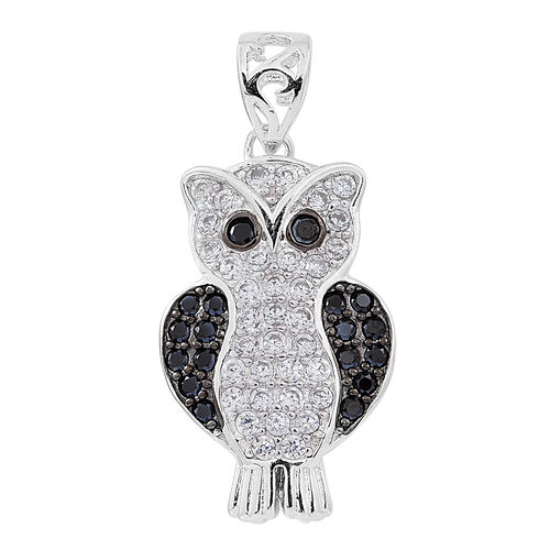 ELANZA AAA Simulated White Diamond (Rnd), Simulated Black Diamond Owl Pendant in Rhodium Plated Sterling Silver