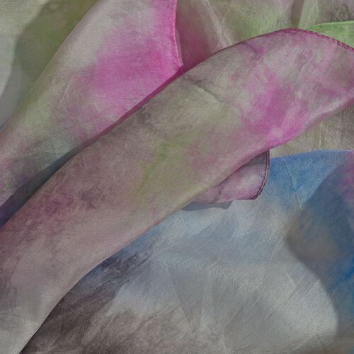 100% Mulberry Silk Pink, Blue, Green and Multi Colour Handscreen Printed Scarf (Size 200X170 Cm)