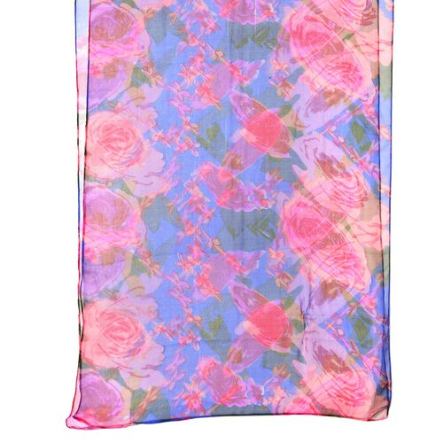 End Of Season Deal-100% Mulberry Silk Blue, Pink and Multi Colour Floral Printed Scarf (Size 180X50 Cm)