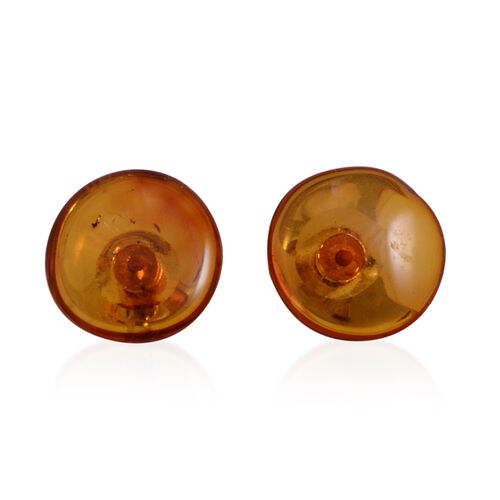 Tucson Collection Baltic Amber (Rnd) Stud Earrings (with Push Back) in Sterling Silver 1.100 Ct.