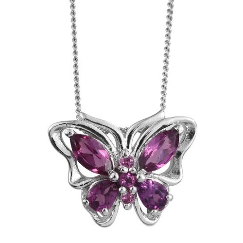 Rare Mozambique Grape Colour Garnet (Mrq) Butterfly Pendant With Chain in Platinum Overlay Sterling Silver 1.000 Ct.