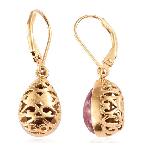 Norwegian Thulite (Pear) Lever Back Earrings in 14K Gold Overlay Sterling Silver 7.250 Ct.
