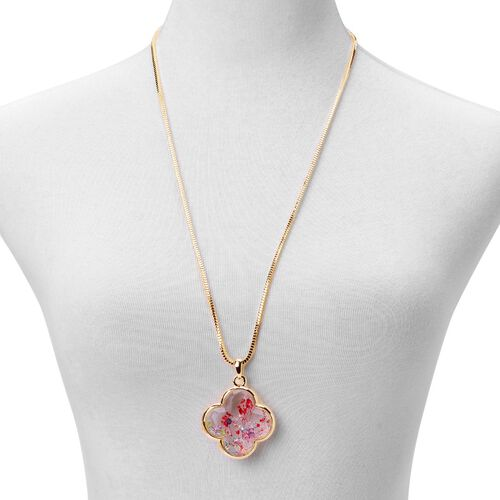 Gold Tone Pendant With Chain with Multi Colour Crystal and Red Flower Inside
