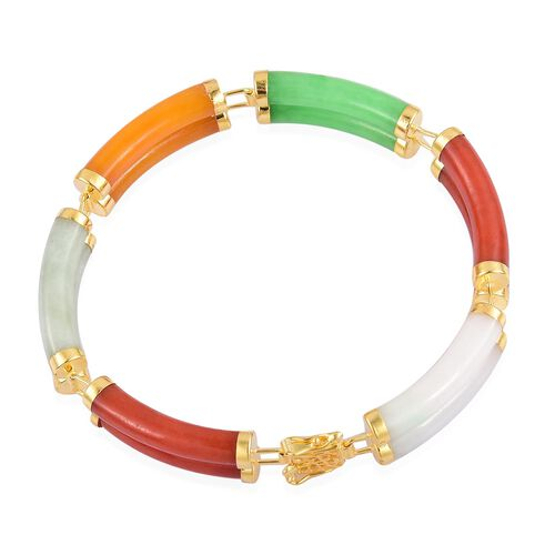 Multi Colour Jade Bracelet (Size 7) in Yellow Gold Overlay Sterling Silver 70.750 Ct.