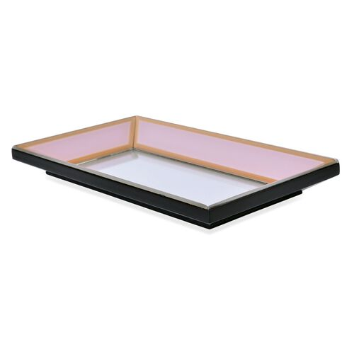 Pink Colour Tray with Mirror at Bottom (Size 28X16X3 Cm)