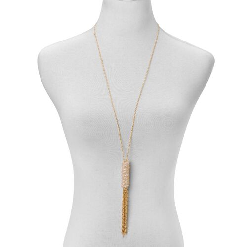 AAA White Austrian Crystal Necklace (Size 30 with 2 inch Extender) in Gold Tone