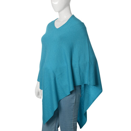 Limited Available - 100% Pashmina Wool Turquoise Colour Poncho (Free Size)