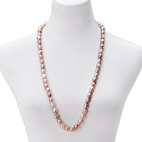 AAAA Rare Double Shine Fresh Water NATURAL Purple Baroque Pearl Necklace (11-13 mm) - Size 32 Inch