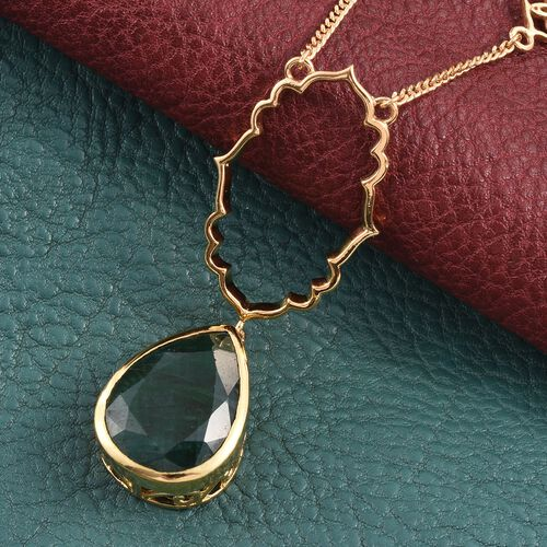 Kimberley Crimson Spice Collection Enhanced Emerald (Pear) Necklace (Size 18) in 14K Gold Overlay Sterling Silver 13.250 Ct.