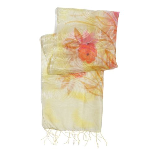 100% Silk Cream and Multi Colour Self Printed Scarf (180x50 Cm)