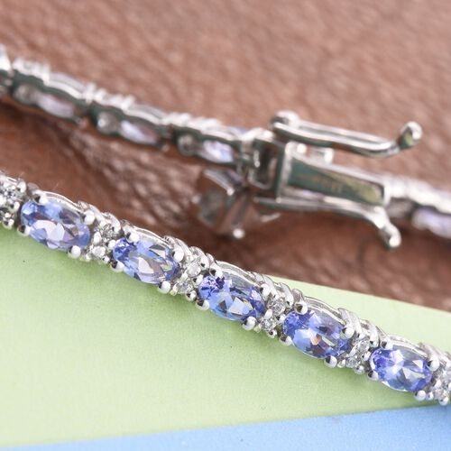 Tanzanite (Ovl), Natural Cambodian Zircon Tennis Bracelet (Size 7.5) in Platinum Overlay Sterling Silver 6.500 Ct.