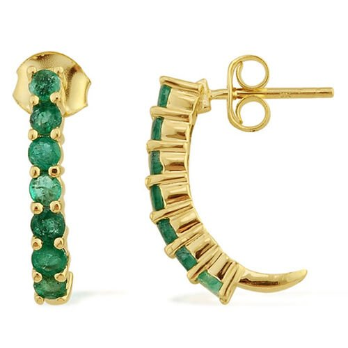 9K Y Gold Kagem Zambian Emerald (Rnd) J Hoop Earrings 1.150 Ct.