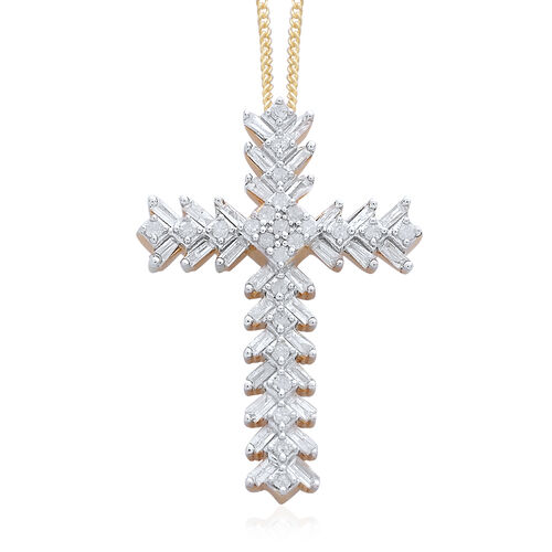 Diamond (Rnd) Cross Pendant with Chain in Platinum and 14K Gold Overlay Sterling Silver 0.500 Ct.
