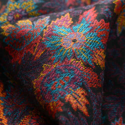 Superfine 100% Merino Wool Multi Colour Flowers Embroidered Black Colour Scarf (Size 200x70 Cm) Weight 280 Gram