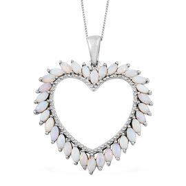 Australian White Opal (Mrq) Heart Pendant with Chain in Platinum Overlay Sterling Silver 1.750 Ct, Silver wt 5.22 Gms.