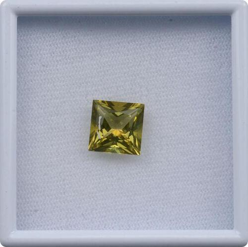 Signity Khaki Green Topaz (Sqr 10 mm Princess Cut 3A) 5.410 Ct.