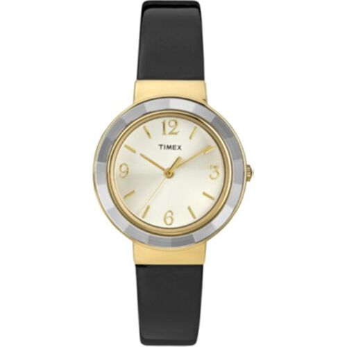 Timex Ladies Faceted Crystal Black Patent Watch