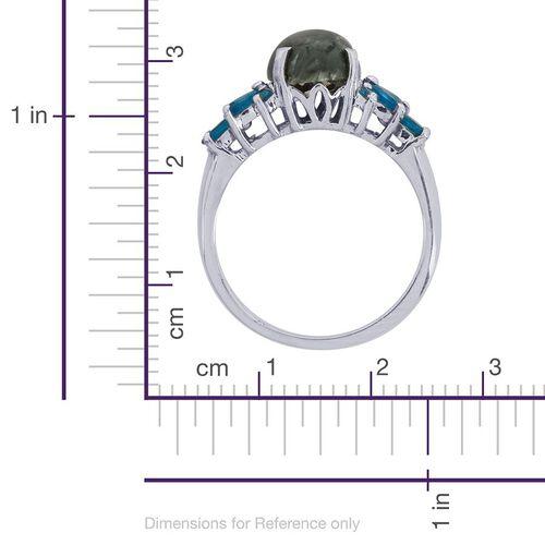 Siberian Seraphinite (Ovl 2.40 Ct), Malgache Neon Apatite Ring in Platinum Overlay Sterling Silver 3.000 Ct.