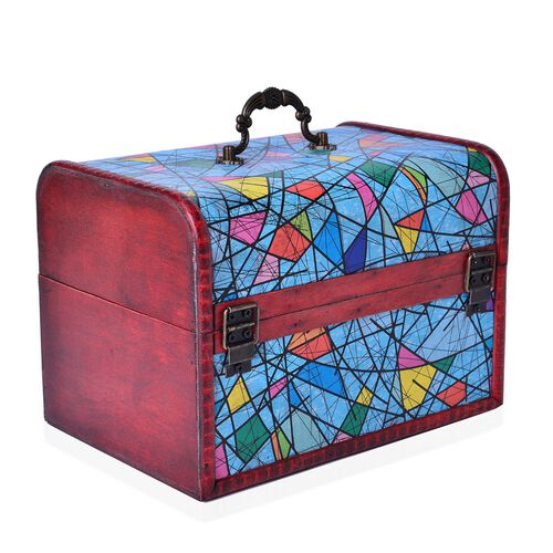 Set of 3 - Handcrafted Multi Colour Geometric Pattern Vintage Style Jewellery Box (Large 22X16X15.5 Cm), (Medium 16X11X10.5 Cm) and (Small 12X7.5X7.5 Cm)